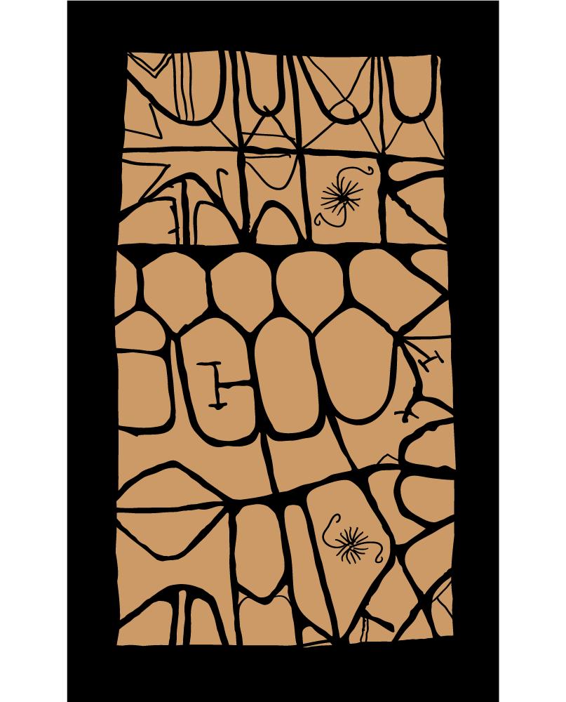 Élégant motif de couleur miel sur un fond anthracite. Les traits organiques et vibrants dessinent une série de cloisonnements qui occupent un rectangle irrégulier.