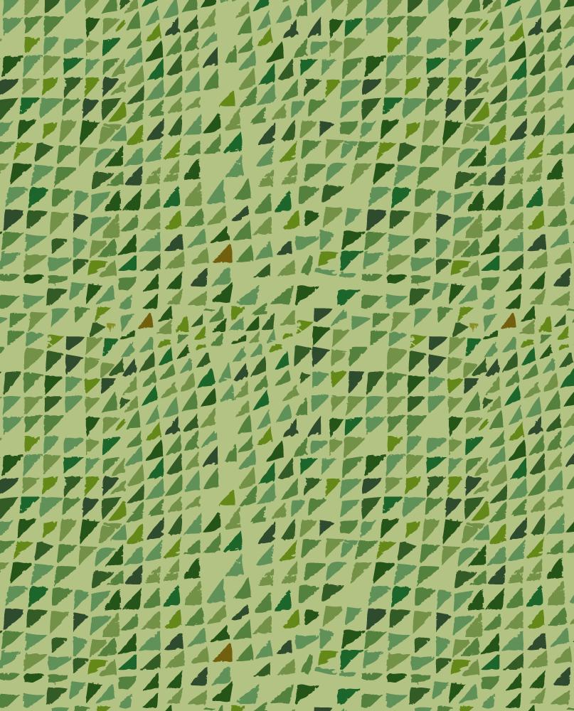 Le motif Forêt, lichen se compose d'une multitude de formes triangulaires disposées en lignes irrégulières. Elles arborent un camaïeu de teintes vertes allant du jaune au kaki, sur un fond unis vert lichen.