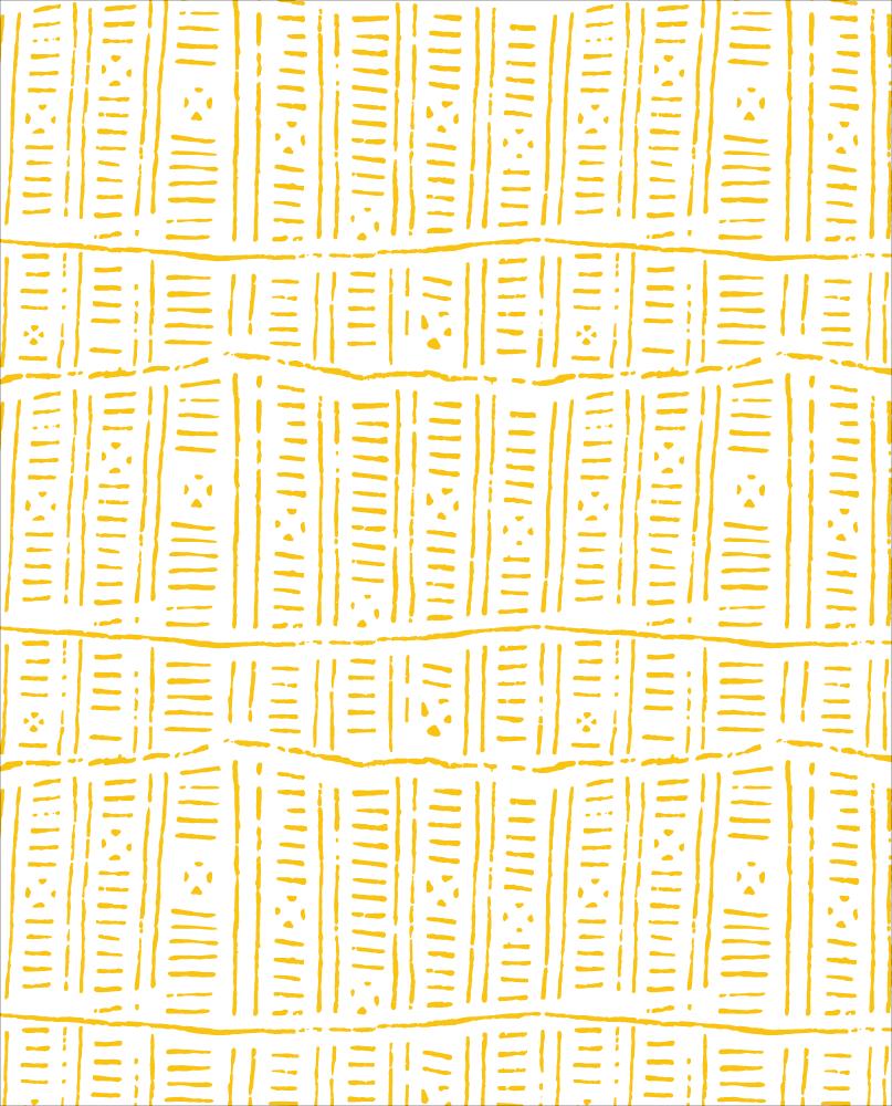"""""""Zeste"""" est un motif au raccord composé d'un série de traits irréguliers de couleur jaune. Certains forment des espèces de colonnes, certains dessinent des lignes horizontales, et d'autres donnent un peu d'air à la composition."""