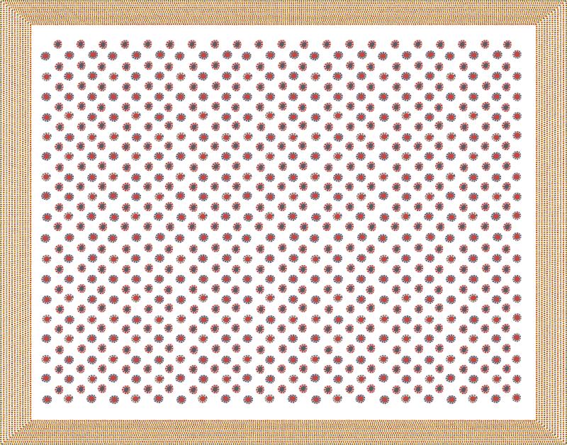 Tatanne est un motif au raccord composé d'une série de ronds rouges et de ronds bleus disposés en quinconce sur un fond blanc. Chaque rond rouge est entouré de points bleus et crème. Les ronds bleus sont entourés de points rouges et crèmes.